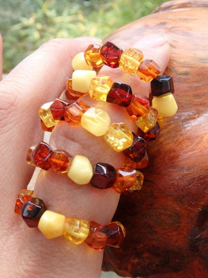 Healing Genuine Baltic Amber Ring on Stretchy Cord (Adjustable- Size 8-10) - Earth Family Crystals