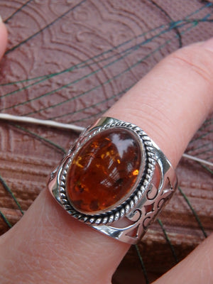 Fabulous Design~ Cognac Baltic Amber Ring In Sterling Silver - Earth Family Crystals