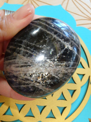 Pretty Flashes Deep Black Moonstone Specimen - Earth Family Crystals