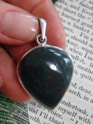 High Shine Speckled Red Bloodstone  Pendant In Sterling Silver (Includes Silver Chain) - Earth Family Crystals