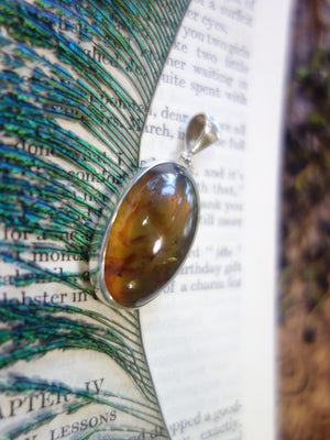 Beautiful Sumatra Blue & Golden Amber  Pendant In Sterling Silver (Includes Silver Chain) REDUCED - Earth Family Crystals
