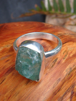Gemmy Raw Blue Apatite Ring in Sterling Silver (Size 7.5) - Earth Family Crystals