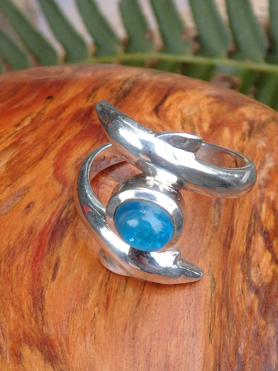 Sweet Double Dolphin & Electric Blue Apatite Ring in Sterling Silver (Size 7.5) - Earth Family Crystals