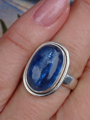 Beautiful Gemmy Blue Kyanite Ring in Sterling Silver (Size 7) - Earth Family Crystals