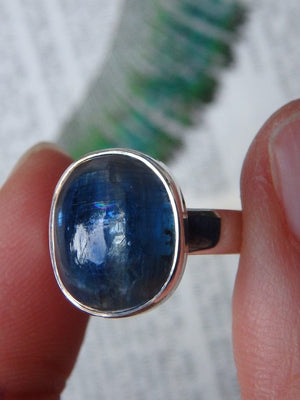 Dark Gemmy Blue Kyanite  Ring In Sterling Silver (Size 6) - Earth Family Crystals