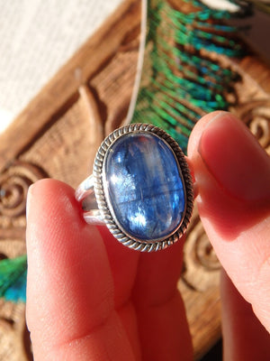 Lovely Dark Blue Kyanite Gemstone Ring In Sterling Silver (Size 7) - Earth Family Crystals