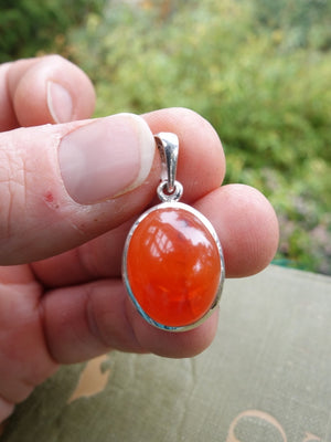 Sizzling Orange Carnelian Pendant In Sterling Silver (Includes Silver Chain) - Earth Family Crystals