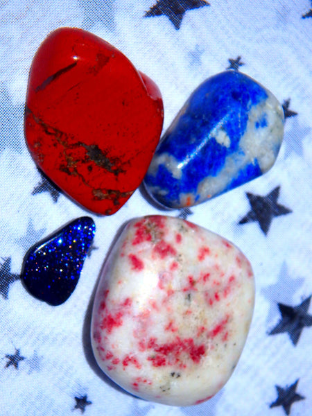 Celebration Crystal Kit (Includes Cinabrite, Sodalite, Blue Goldstone, Red Jasper)