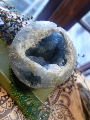 XXL Celestite Deep Cave Geode Sphere With Huge Points & Druzy - Earth Family Crystals