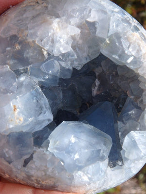 Amazing Jumbo Blue Celestite Geode Sphere With Large Points - Earth Family Crystals