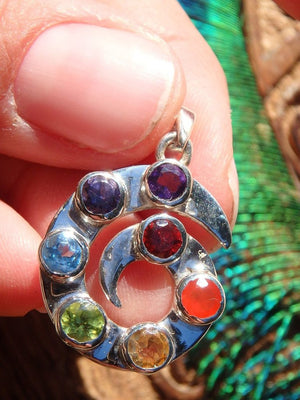 Cool Swirl ~Faceted 7 Stone Chakra Pendant In Sterling Silver (Includes Silver Chain) - Earth Family Crystals
