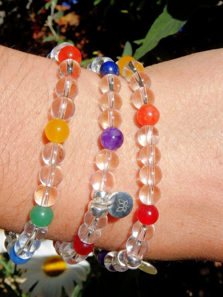 Powerful Balancing Combo! Chakra Clear Quartz Bead Bracelet - Earth Family Crystals