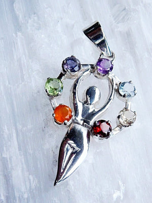 *SPECIAL* Healing Goddess 7 Stone Chakra  Gemstone Pendant In Sterling Silver (Includes Silver Chain) - Earth Family Crystals