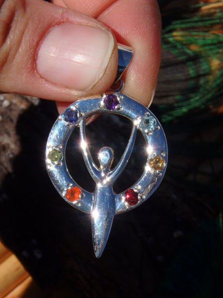 7 Faceted Gemstones Goddess Chakra Pendant In Sterling Silver (Includes Silver Chain) - Earth Family Crystals