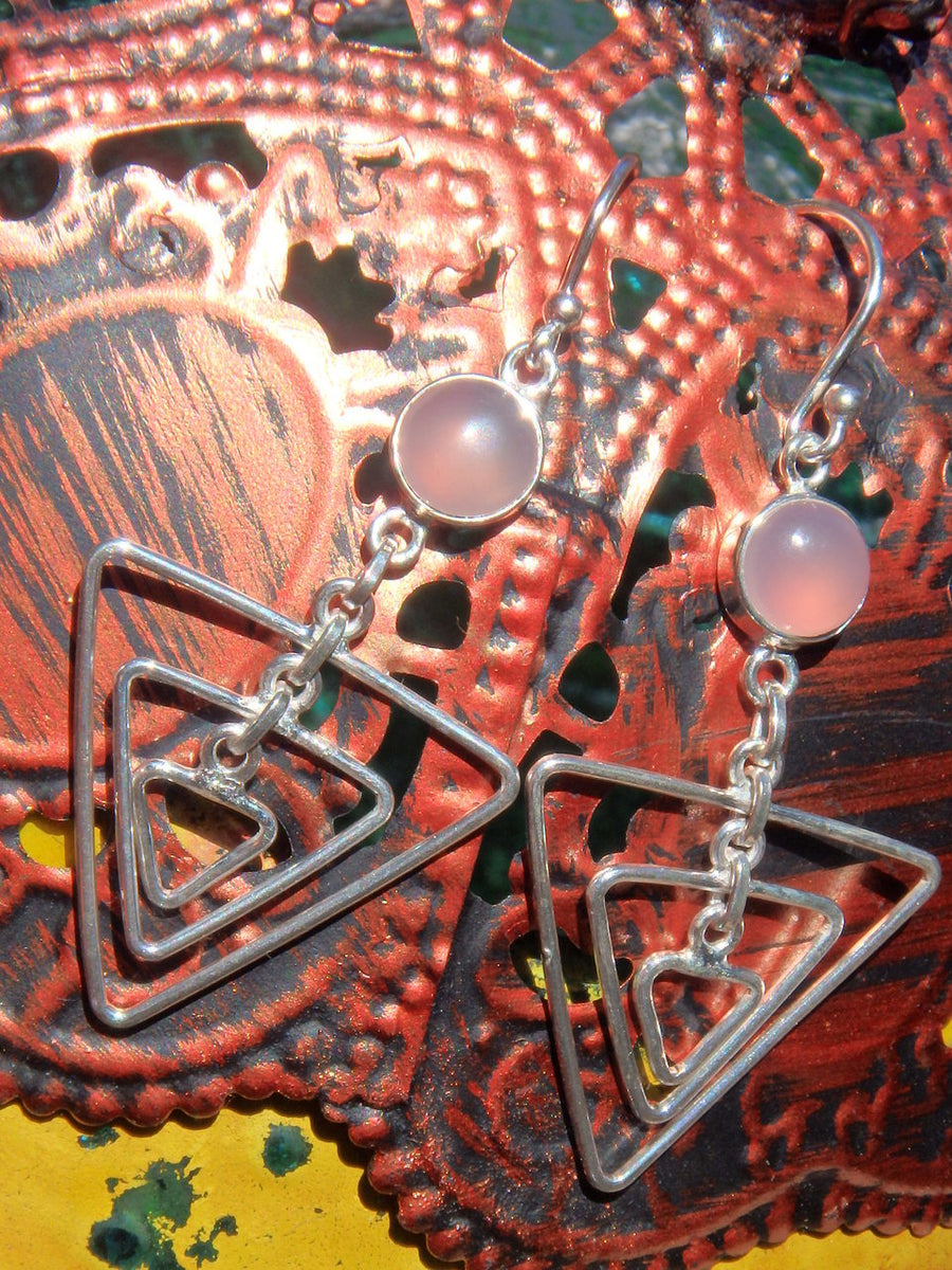 Trendy Pink Chalcedony Mod Goddess Earrings in Sterling Silver - Earth Family Crystals
