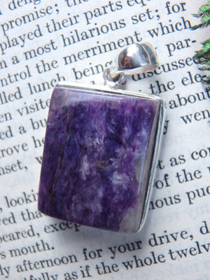 Reserved For Alesha D. Rich Purple Charoite Pendant In Sterling Silver (Includes Silver Chain) - Earth Family Crystals