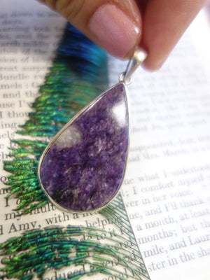 Deep Grape Purple Charoite Pendant In Sterling Silver (Includes Silver Chain) - Earth Family Crystals