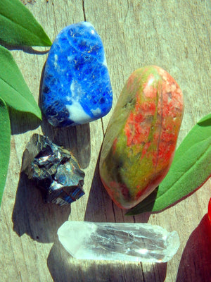 Harvest Moon Crystal Kit ~ Includes Unakite, Noble Shungite, Clear Quartz Point, Sodalite - Earth Family Crystals
