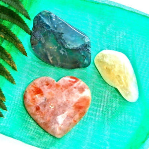 Spring Awakening Crystal Kit (Includes Sunstone Heart, Moss Agate, Citrine) - Earth Family Crystals