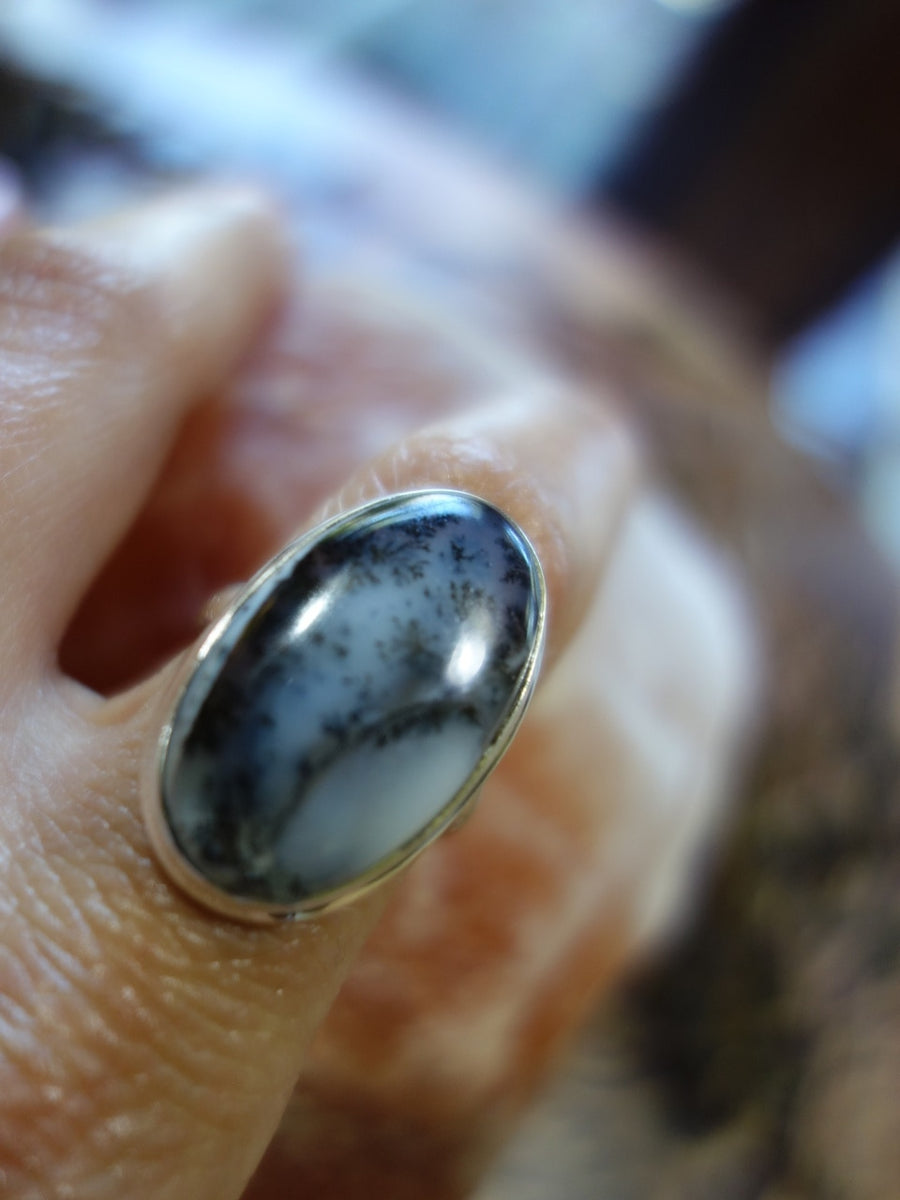Glossy Fern Patterns Dendritic Agate Ring In Sterling Silver (Size 9) - Earth Family Crystals