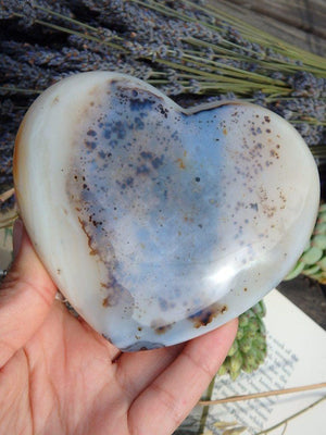 Absolutely Stunning Large Dendritic Agate Gemstone Heart - Earth Family Crystals