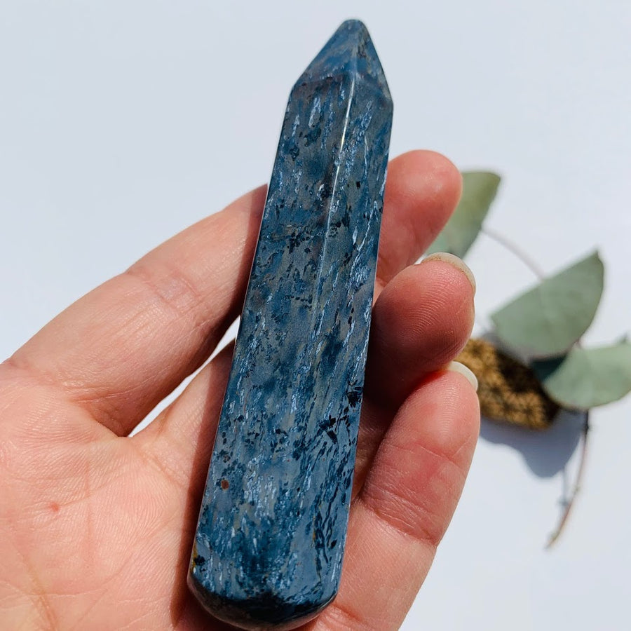 Large Silky Blue Pietersite Wand Carving #4