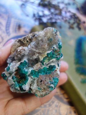 Exquisite Vibrant Dioptase Specimen With  Druzy Quartz Caves - Earth Family Crystals