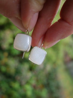 Cute White Druzy Agate Earrings In Sterling Silver - Earth Family Crystals