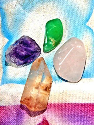 Easter Crystal Kit (Includes Australian Chrysoprase, Tangerine Quartz Point, Amethyst, Rose Quartz) - Earth Family Crystals