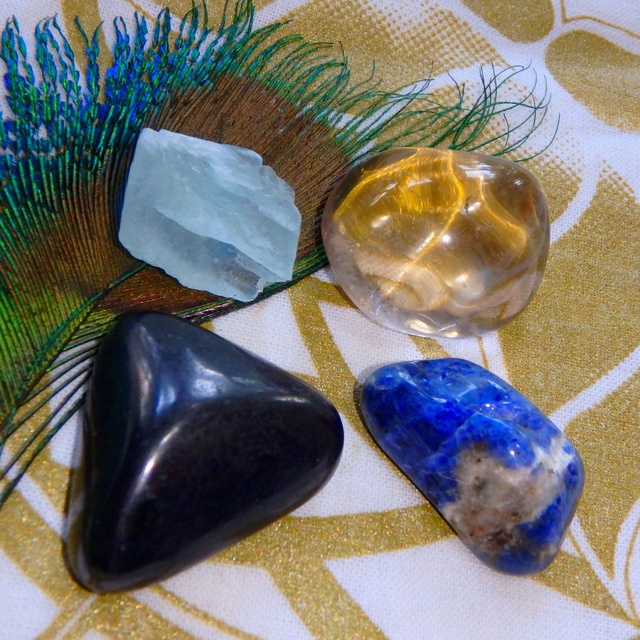 The Ultimate EMF PROTECTION KIT~Includes Shungite, Smoky Quartz, Sodalite & Raw Fluorite