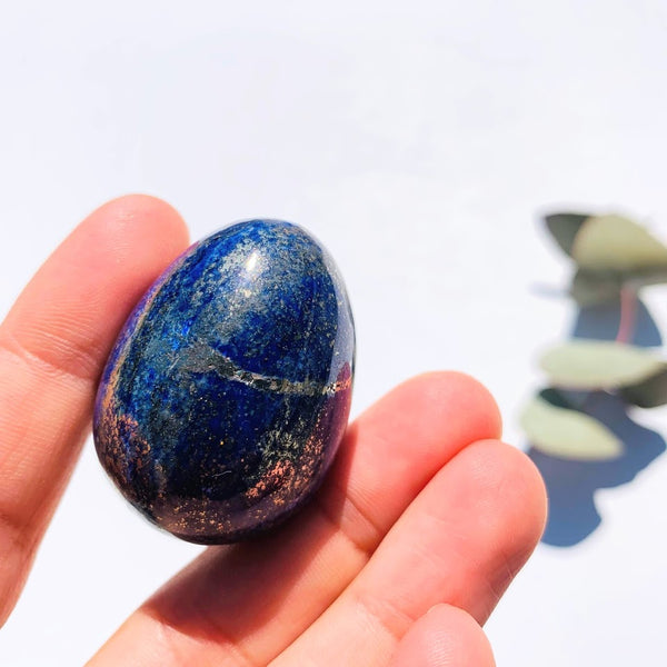 Gorgeous Golden Pyrite & Lapis Lazuli Hand Held Egg Carving #2