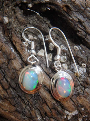 Lovely Flashes of Color Ethiopian Opal Earrings In Sterling Silver - Earth Family Crystals