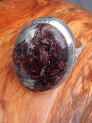 Exquisite Chunky Burgundy Eudialyte Gemstone Ring in Sterling Silver (Size 9.5) - Earth Family Crystals