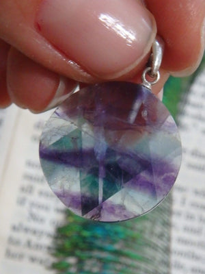 Cute Star of David Rainbow Fluorite Gemstone Pendant In Sterling Silver (Includes Silver Chain) 2 - Earth Family Crystals