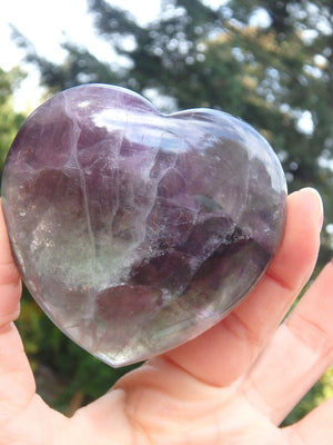 Rich Green & Purple Glossy Fluorite Heart Carving - Earth Family Crystals