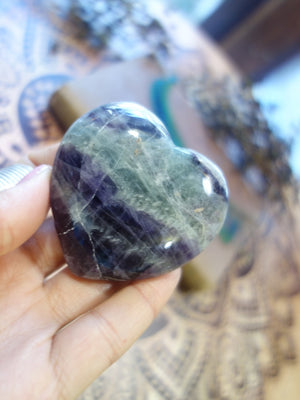 Powerful Rainbow Fluorite Love Heart Carving - Earth Family Crystals