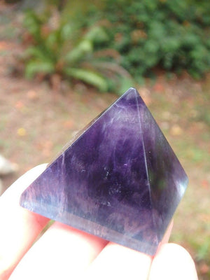 Deep Grape Purple & Aqua Blue Fluorite Polished Pyramid - Earth Family Crystals
