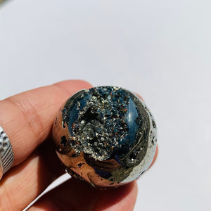 Uplifting Golden Sparkle Pyrite Geode Sphere From Peru #6