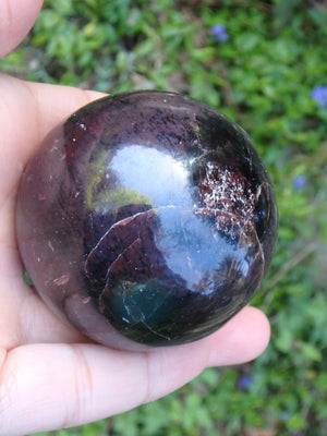Large Deep Burgundy Red Garnet Sphere Carving From India