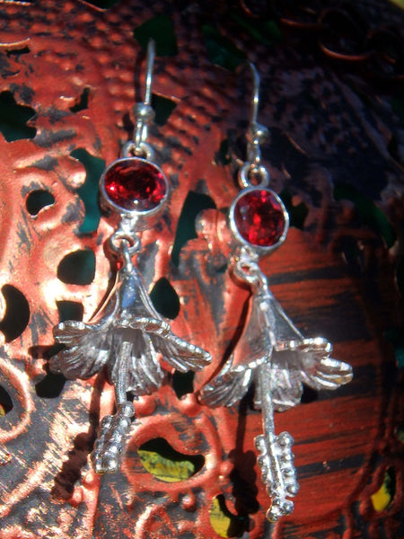 Playful Red Garnet Hibiscus Earrings in Sterling Silver - Earth Family Crystals