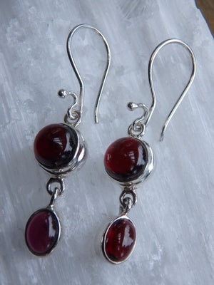 Pretty Burgundy Garnet Earrings In Sterling Silver - Earth Family Crystals