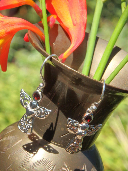 Faceted Red Garnet Angel Blessings Earrings in Sterling Silver - Earth Family Crystals