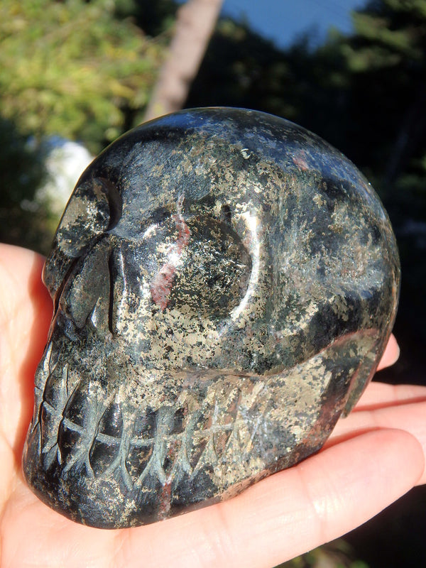 Mysterious Healers Gold Skull Carving Specimen - Earth Family Crystals