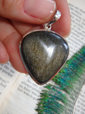 Mysterious Golden Sheen Obsidian Gemstone Pendant In Sterling Silver (Includes Silver Chain) - Earth Family Crystals