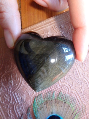 Incredible Golden Sheen Obsidian Puffy Love Heart - Earth Family Crystals