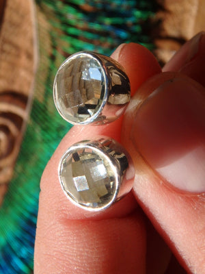 Fabulous  Faceted Green Amethyst (Prasiolite)  Stud Earrings In Sterling Silver - Earth Family Crystals
