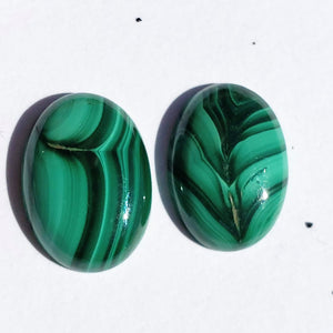 Pair of 2 Malachite Cabochons Ideal for Crafting