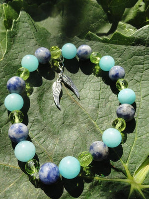 AMAZONITE & SODALITE Winged Charm Bracelet~ - Earth Family Crystals