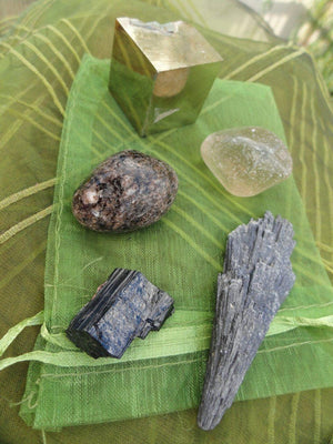 The Ultimate ~ EXTREME GROUNDING CRYSTAL Kit**(Includes Black Kyanite Wand, Dravite,Iron Pyrite Cube,Black Tourmaline,Smoky Quartz) - Earth Family Crystals