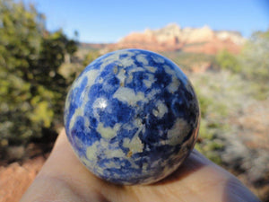 Beautiful Marbled  Blue & White SODALITE SPHERE - Earth Family Crystals